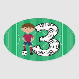3rd Birthday Red and Blue Soccer Goal Stickers