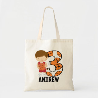 3rd Birthday Red and White Basketball Player Budget Tote Bag