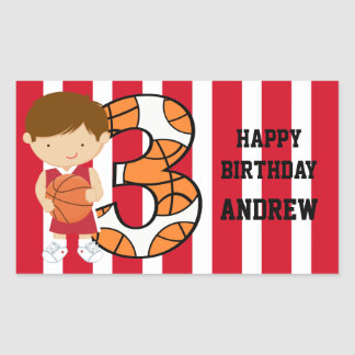 3rd Birthday Red and White Basketball Player Rectangular Sticker
