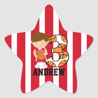 3rd Birthday Red and White Basketball Player Star Sticker