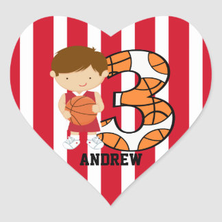 3rd Birthday Red and White Basketball Player Heart Sticker