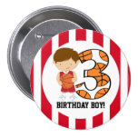 3rd Birthday Red and White Basketball Player v2 Pinback Buttons
