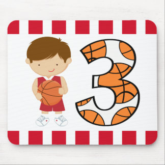 3rd Birthday Red and White Basketball Player v2 Mouse Pad