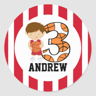 3rd Birthday Red and White Basketball Player v2 Round Sticker