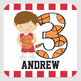 3rd Birthday Red and White Basketball Player v2 Square Sticker