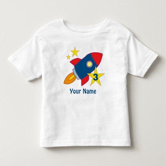 3rd Birthday Rocket Ship Personalised T-Shirt