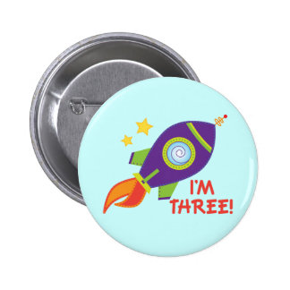 3rd Birthday Rocketship Space Party Button Gift