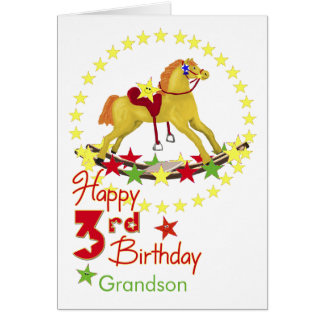 3rd Birthday Rocking Horse Stars Card