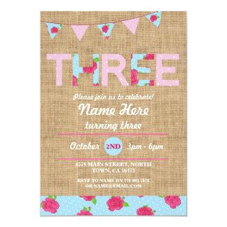 3rd Birthday Tea Party Three 3 Burlap Rose Invite