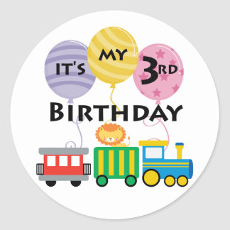 3rd Birthday Train Birthday Round Sticker