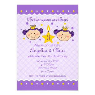 3rd Birthday Twincess Party Invitation