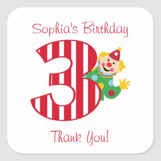 3rd Birthday Waving Circus Clown Square Stickers