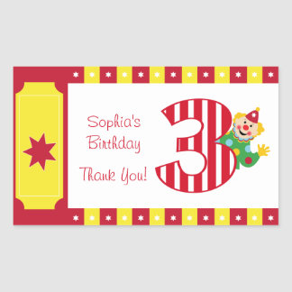 3rd Birthday Waving Circus Clown Stickers