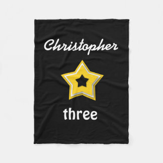3rd Birthday with Layered Stars GOLD BLACK A14 Fleece Blanket