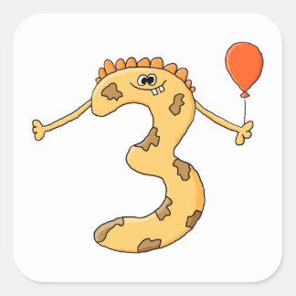 3rd Birthday. Yellow birthday monster cartoon. Square Sticker