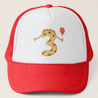 3rd Birthday. Yellow birthday monster cartoon. Trucker Hat