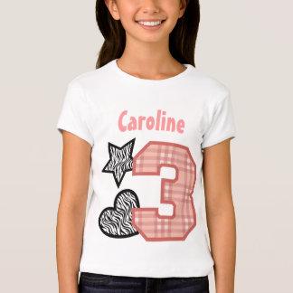 3rd Birthday Zebra Hearts Plaid 3 Year Old 10A4 Shirts