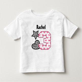 3rd Birthday Zebra Hearts Three Year Old 10B Toddler T-Shirt