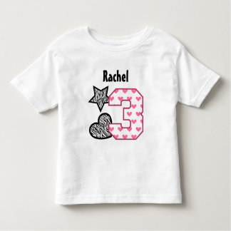 3rd Birthday Zebra Hearts Two Year Old 10A Toddler T-Shirt