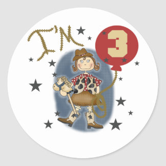3rd Cowgirl Birthday Tshirts and Gifts Round Sticker