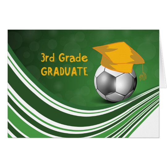 3rd Grade Graduation, Soccer Ball and Hat Card