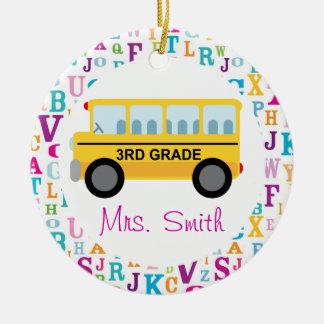 3rd Grade Personalized School Bus Teacher Ornament