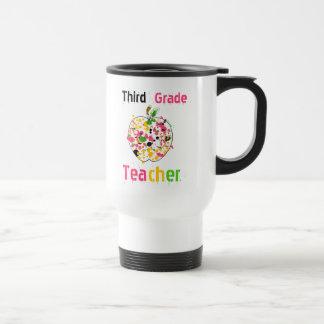 3rd Grade teacher paint splatter apple Mug