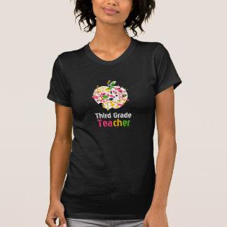 3rd grade Teacher Paint Splatter Apple T Shirt