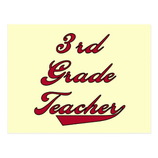 3rd Grade Teacher Red Tshirts and Gifts Postcard