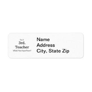 3rd. Grade Teacher Return Address Label