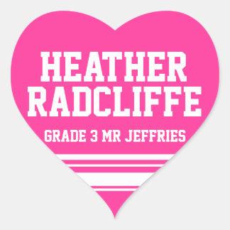 3rd Grader school education name id sticker pink