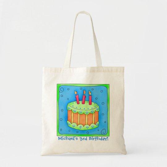 3rd Happy Birthday Cake Name Personalised Boy Gift Tote Bag