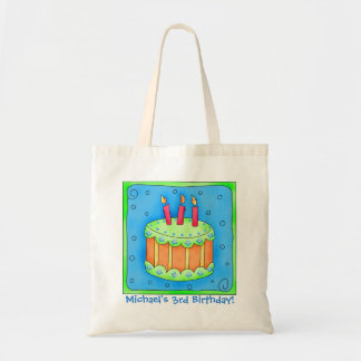 3rd Happy Birthday Cake Name Personalized Boy Gift Budget Tote Bag
