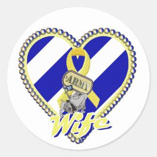 3rd id army wife classic round sticker