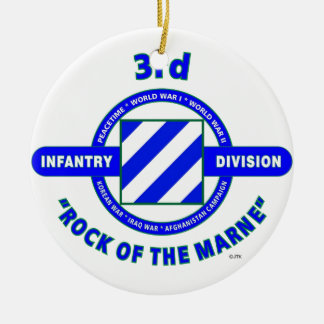 """3RD INFANTRY DIVISION""""ROCK OF THE MARNE"""" CHRISTMAS ORNAMENT"""