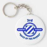 "3RD INFANTRY DIVISION""ROCK OF THE MARNE"" BASIC ROUND BUTTON KEY RING"