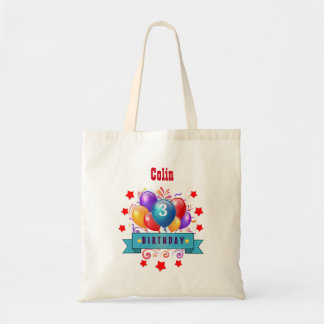 3rd KIDS Birthday Festive Colorful Balloons B10AZ Tote Bag