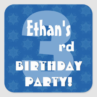 3rd Kids Birthday Party Custom Name Square Sticker