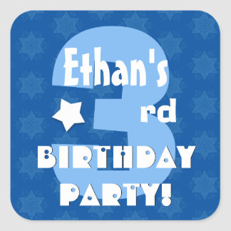 3rd Kids Birthday Party Custom Name V1 Square Sticker