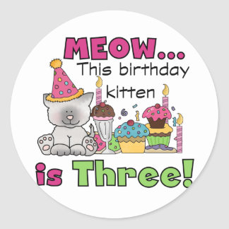 3rd Kitten Birthday T-shirts and Gifts Stickers
