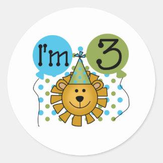 3rd Lion Birthday Round Sticker