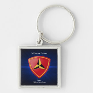 3rd Mar Div Silver-Colored Square Key Ring