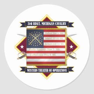 3rd Michigan Cavalry Round Sticker