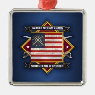 3rd Michigan Cavalry Silver-Colored Square Decoration