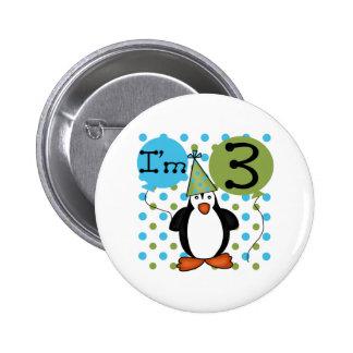 3rd Penguin Birthday 6 Cm Round Badge
