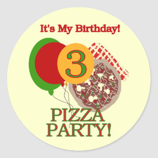 3rd Pizza Party Birthday Tshirts and Gifts Round Sticker