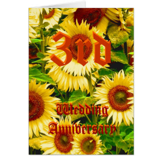 3rd wedding anniversary card - Sunflower