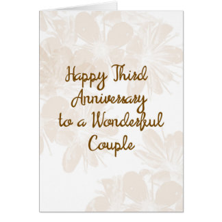 3rd Wedding Anniversary Card with Tan Flowers