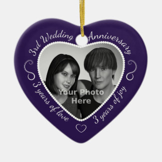 3rd Wedding Anniversary Photo Christmas Ornament