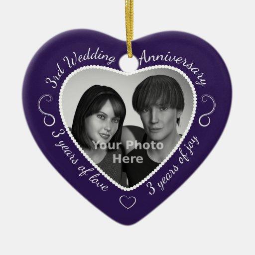 3rd Wedding Anniversary Photo Ornaments